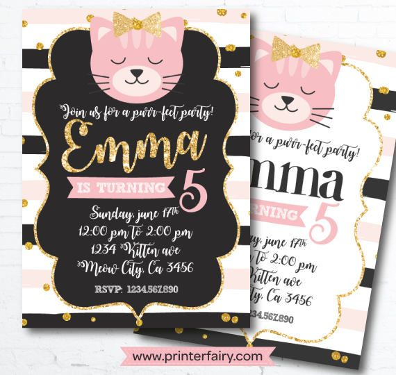 Cat Invitation Kitten Invitation Kitty Cat birthday and like OMG! get some yourself some pawtastic adorable cat apparel!