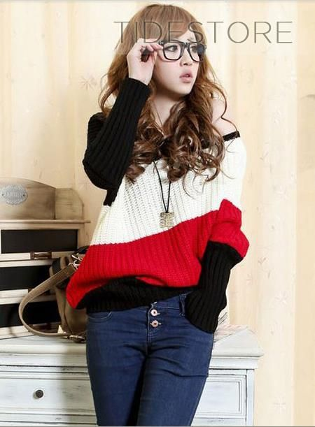 Attractive Inclined Three Color Block Casual Korean Sweater, Fashion Clothing Online