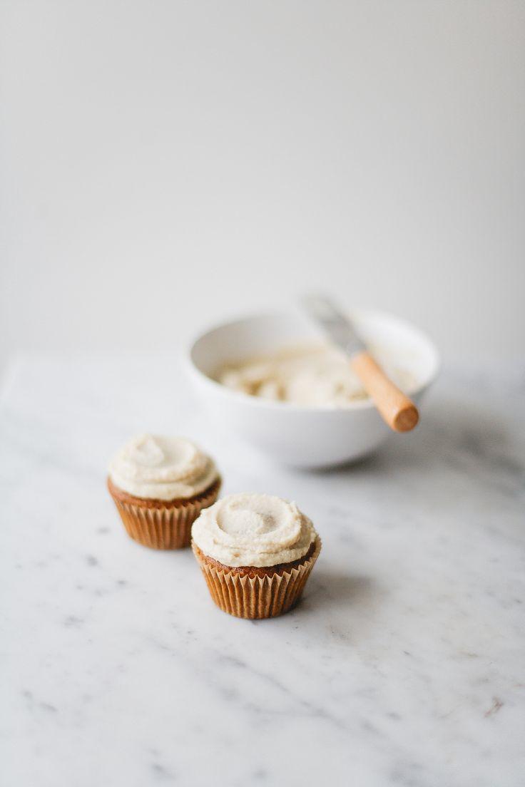 roasted plum spelt cupcakes with cashew maple vanilla cream