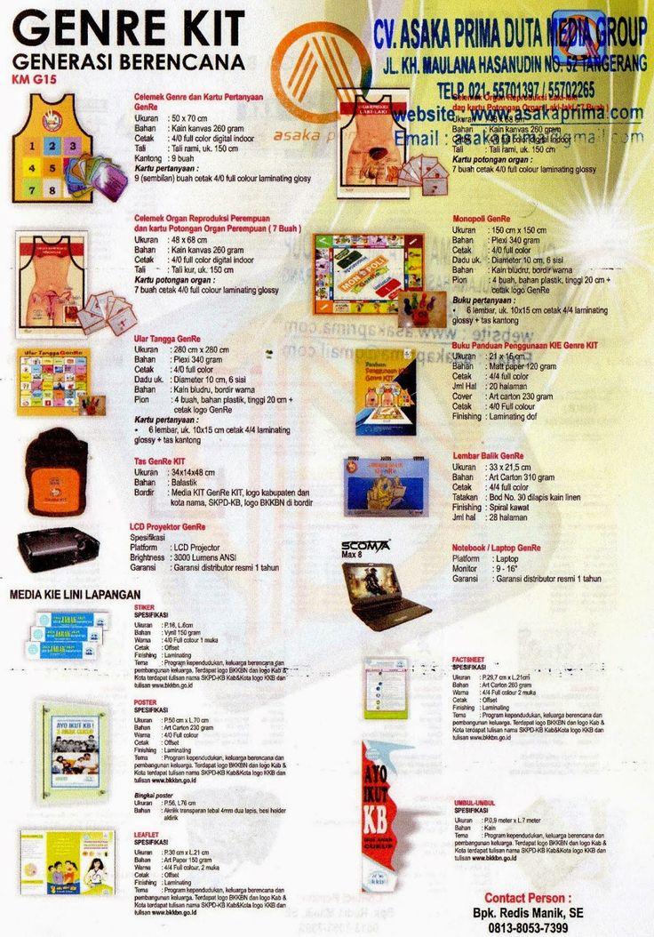LELANG Genre KIT,Pengadaan Generasi Berencana (GenRe) KIT,tender GENRE KIT 2015 ~ lelang GENERASI BERENCANA KIT BKKbN 2015 (GENRE KIT )Jl.Maulana Hasanudin No.52 Cipondoh - Tangerang 15000 Telp.021-55701397 – 021 55702265 /  Hp:0813.8053.7399./ 0877.7432.4146 PIN BB. 53A0F799/ 7DCABE33 / 5275A28B Website: http://www.asakaprima.com                http://www.asakazone.com Email :asakaprima@gmail.com yahoo ID:dutamedia89