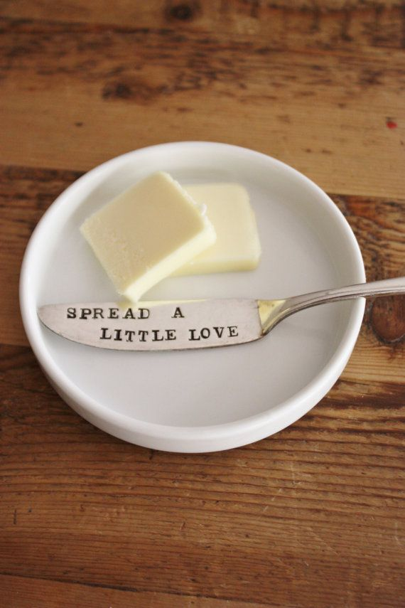 Butter Knife  Vintage Hand Stamped  Spread by ForSuchATimeDesigns, $12.00  So cute for an addition to a wedding gift, etc.!!!