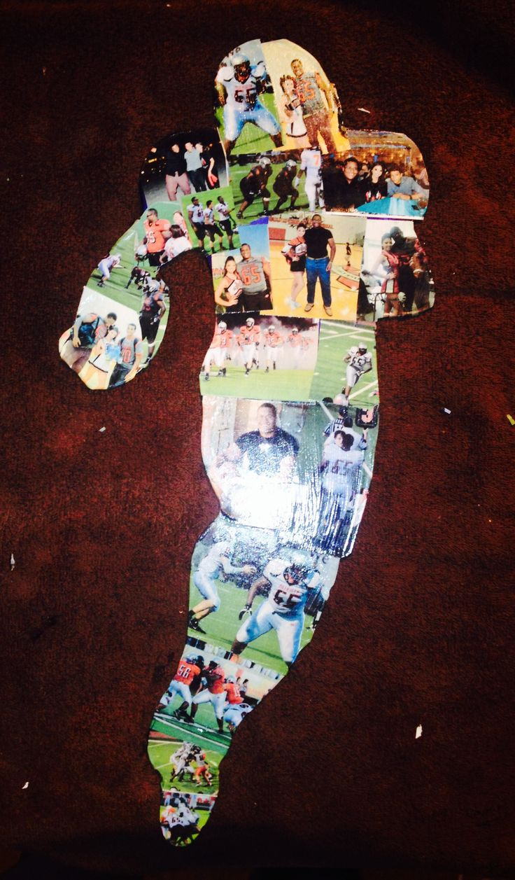 Last football gift of the season. Took pictures all season long and made a photo collage as a football player silhouette