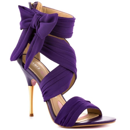 purple chiffon high heel sandals with bow and and ankle wrap