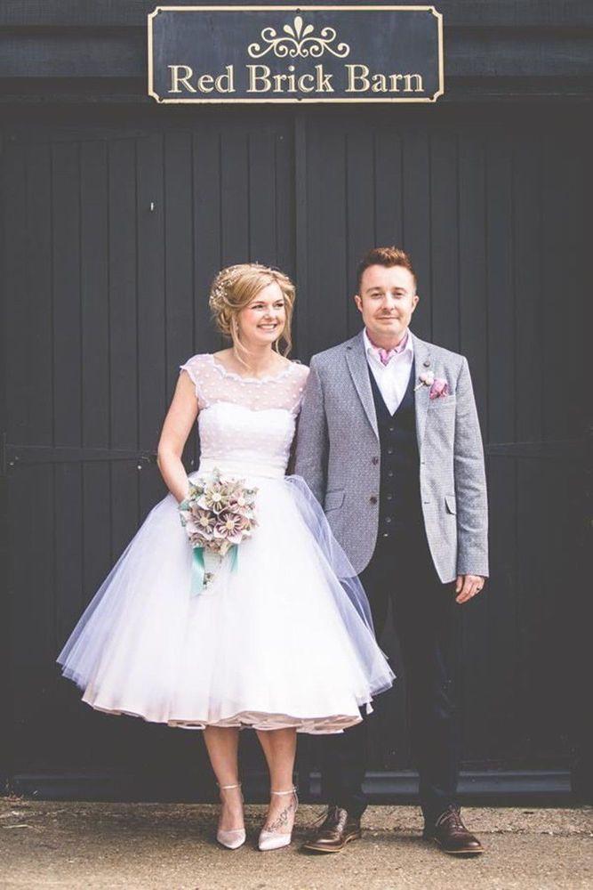 Vintage 1950s Polka Dotted Short Wedding Dress Tea Length Little White Dresses