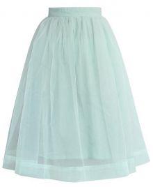 POSHme - Chicwish tylová sukně, mintová