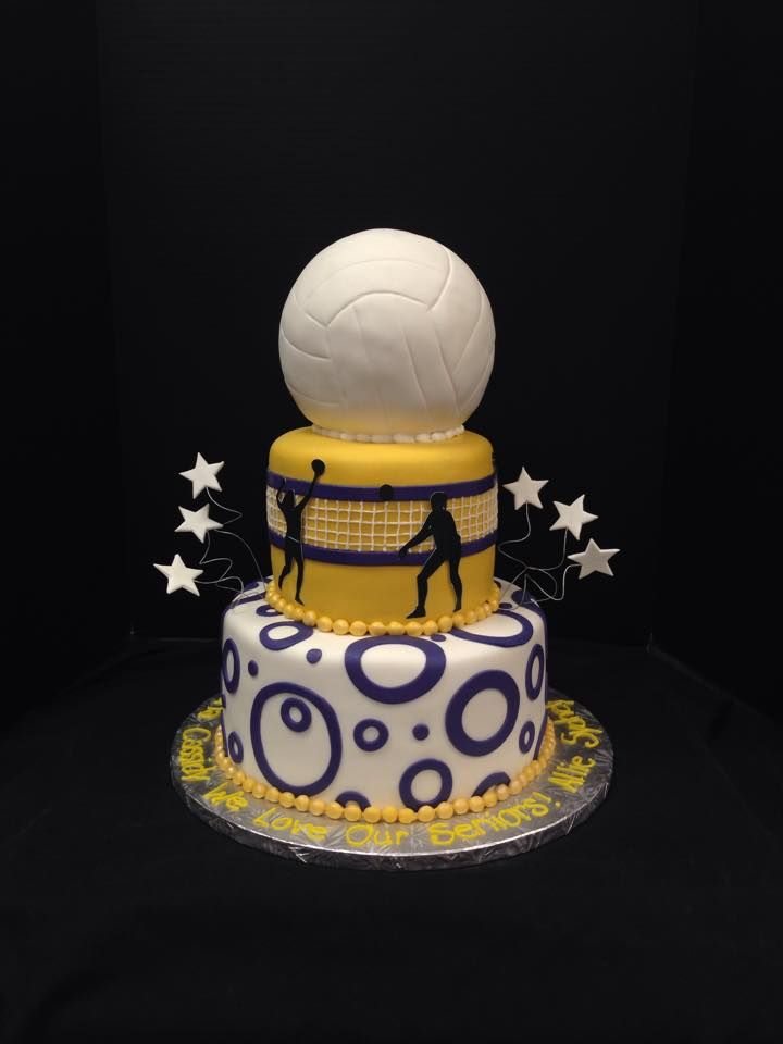 Whimsical volleyball cake. #cake #volleyball #stars #yellow