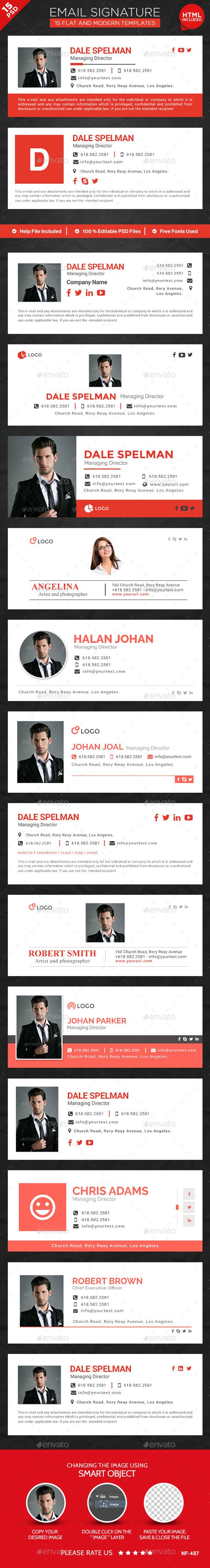 15 Email Signature Templates - HTML Files Included