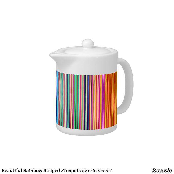 Beautiful Rainbow Striped >Teapots