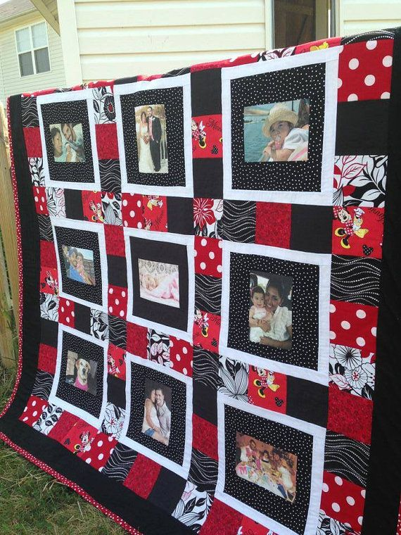 Custom 9 Photo Memory Quilt with Minnie Mouse Disney Theme in Crazy Quilt Design - Choose Your Own Theme