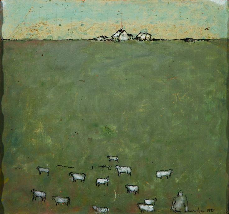 Olavi Vaarula: Laitumella, 1975, öljy, 14x15 cm - Hagelstam K131