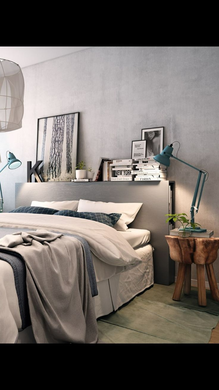 ♡ väggfärg, sänggavel med förvaring och hylla, nattduksbord av en stubbe med ben, sängen i sig + textilier, belysning, känsla