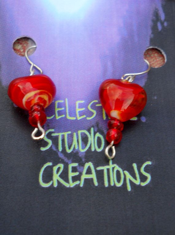 Colourful hook earrings bright red hearts by CelestialStudio13, $21.93