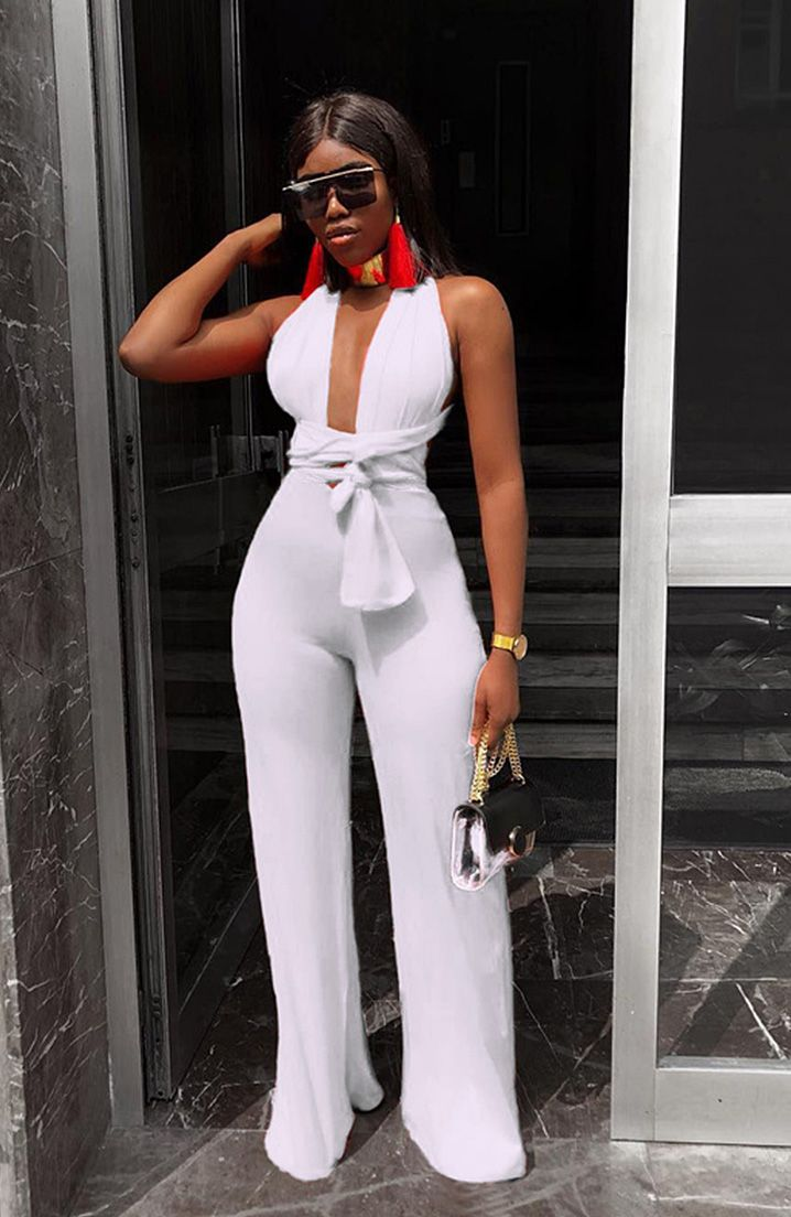 f6358196c3780 Euro Bandage Backless Solid Sexy Jumpsuit. Find this Pin and more on  Bottoms by Stylish Woman.