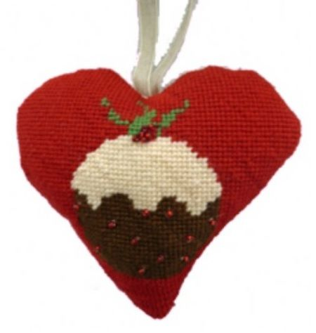 Christmas Pudding Lavender Heart Tapestry