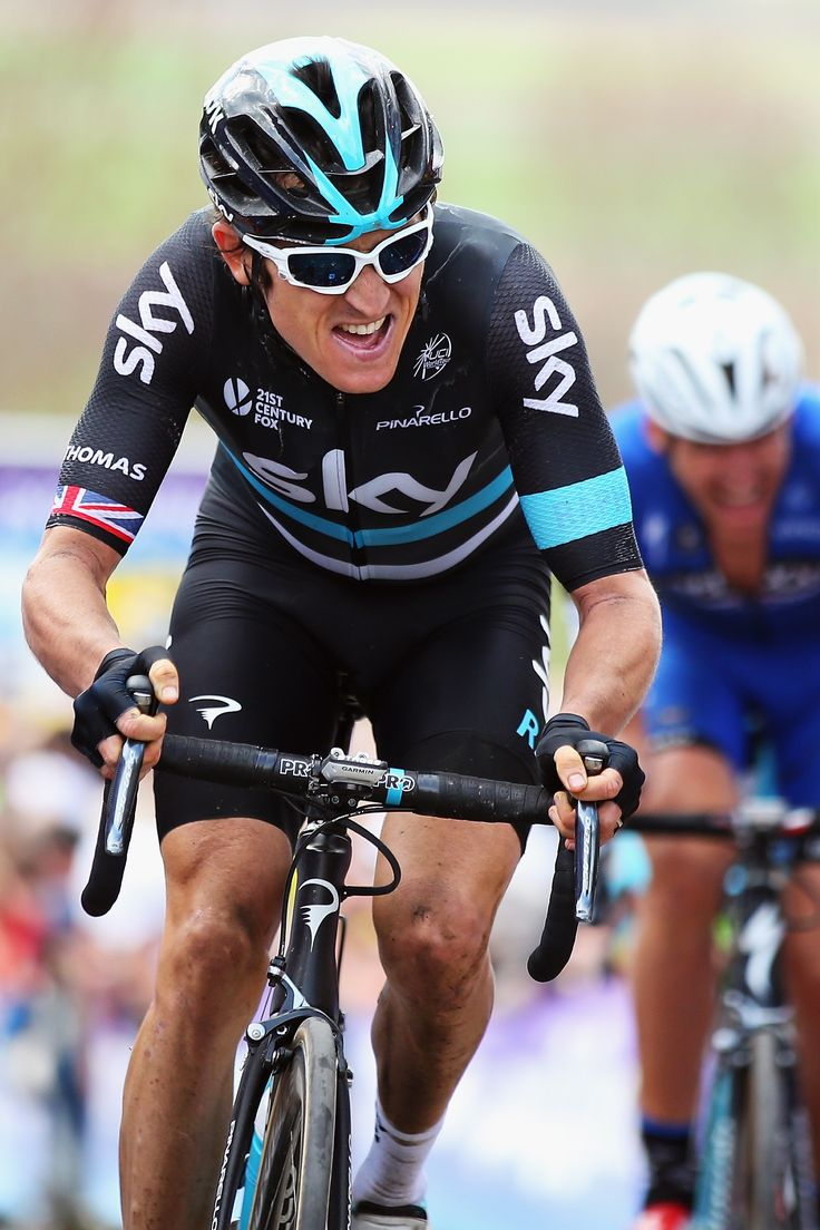 Geraint Thomas of Great Britain and Team SKY rides up the final ascent of the…