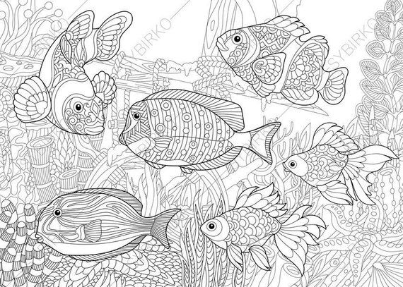 Ocean World Tropical Fishes 2 Coloring Pages Animal Ocean Coloring Pages Coloring Books Coloring Pages