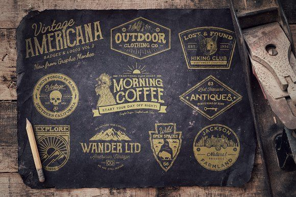 Vintage Americana Badges and Logos 2 by Trailhead Design Co. on @creativemarket https://crmrkt.com/D5elgE