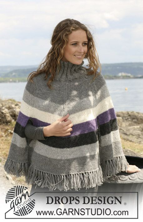"""DROPS poncho with stripes and tassels in 2 threads """"Alpaca"""". Size S - XXXL. ~ DROPS Design - free"""