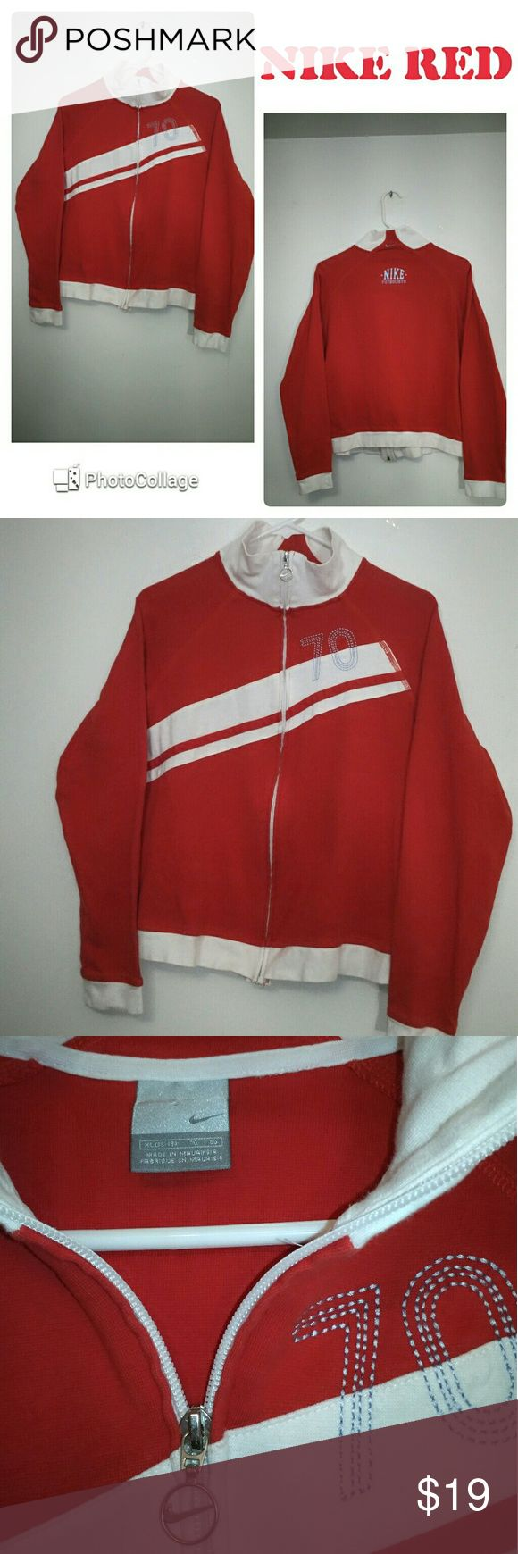Nike Red Futbol Zip Up Jacket XL Petite In good condition, no rips, no holes nor stains Nike Zip Up Jacket Futbolista in red and white color. XL size seems to be for petites. LENGTH: 22 inches. PIT TO PIT: 22.5 inches.Please check my pictures posted for details and if you have any questions, please feel free to ask and make offer. Nike Jackets & Coats