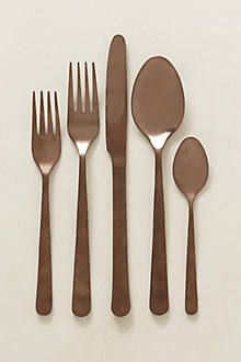 Vika Sky Flatware Set from Anthropologie. $48 for set of 5 = 8-person set $384