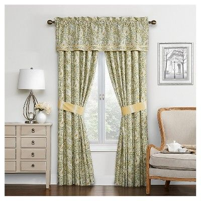 Waverly Curtain Panel Pair Green/Yellow/Ivory Paisley