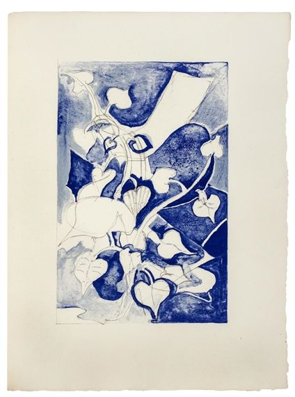 Artwork by Georges Braque, Jean Paulhan, Les Paroles Transparentes. Paris, Made of Lithographs in shades of blue and gray printed on handmade Auvergne du Moulin Richard de Bas paper
