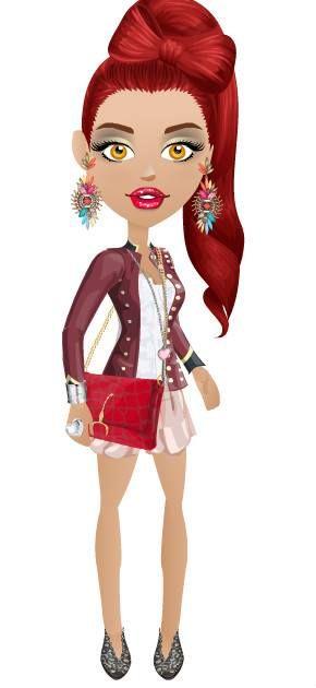 short de raso color rosa, corset blanco de broderi, abrigo chaqueta doble abotonadura tipo militar, cartera roja de gamuza zapatos bordados negros accesorios acordes.