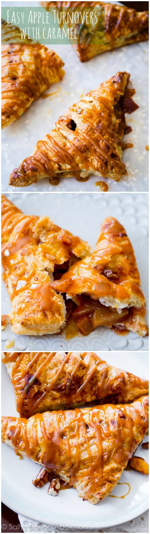 Caramel Apple Turnovers~2 small peeled & finely diced apples 1t cornstarch 1/4C chopped pecans, optional 1 T vanilla extract 1 t cinnamon 1/2C sugar 1 package (2 sheets) frozen puff pastry, thawed 1 large egg, beaten 1. Mix the brown sugar, milk, butter and salt in a saucepan over medium-high heat. 2. Whisk while cooking for 5-7 minutes, or until it thickens. 3. Add the vanilla and cook for about another minute. 4. Remove from heat and let cool until ready to serve on pancakes. 400 for 20…
