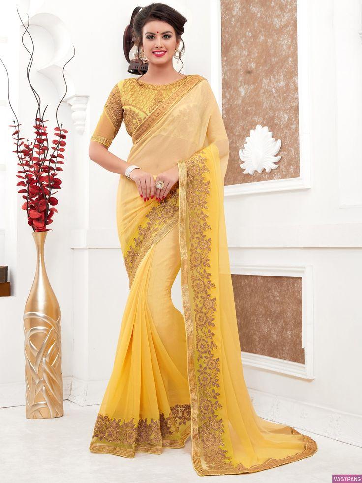 Stuning Yellow Net Zari Embroidery Work Designer Saree