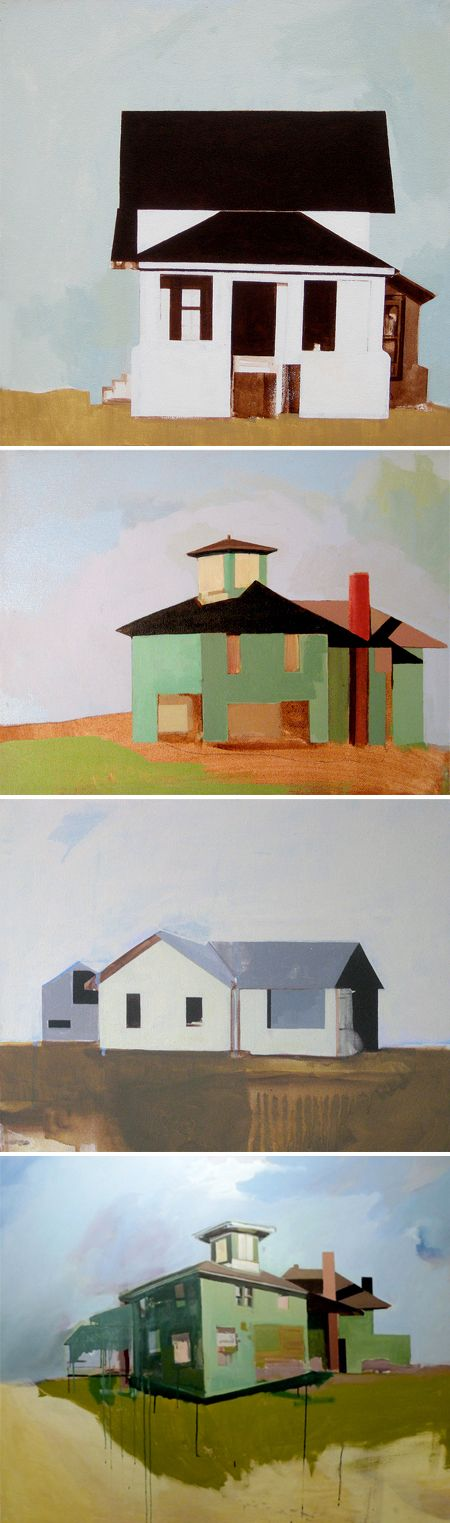Paintings by Amy Greenan.  I like the simplification and starkly contrasting color of these paintings.  Sort of like a pared down and abstracted Hopper painting.