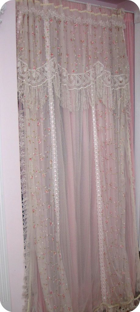 Trish Rose and Lace Curtain Panels~couldn't I add lace to the second pair I have & turn into a valance?