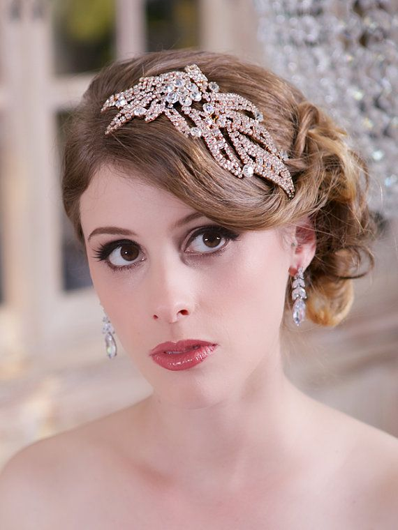 Crystal Rose Gold Headpiece Crystal Wedding by GildedShadows