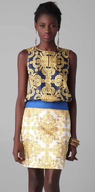 Navy and gold dress by Tibi  wish I knew where this dress could be found