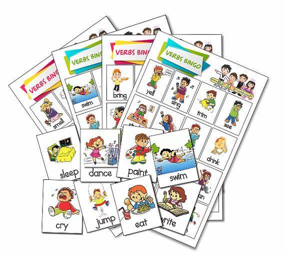 Lotería Verbos Acciones En Ingles Para Imprimir Printable Verbs Actions Bingo Verbos En Espanol Verbos Ingles Juegos Para Aprender Ingles