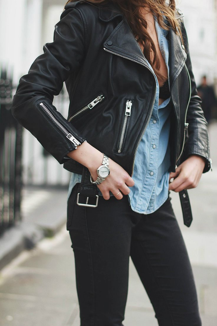 Moto Leather Jacket, Chambray Shirt, & Black Denim {Rocker, Edgy, Grunge, Indie, Moto, Punk, Chic} www.lovekrystle.com Links To Similar Items:  https://api.shopstyle.com/action/apiVisitRetailer?id=513