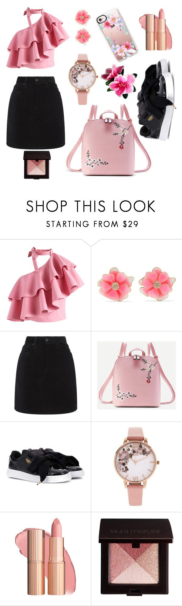 """Untitled #333"" by inesgenebra on Polyvore featuring Chicwish, Kenneth Jay Lane, rag & bone, WithChic, Puma, Olivia Burton, Laura Mercier and Casetify"