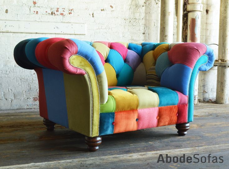 Modern British Handmade Bold Multi Coloured Patchwork Chesterfield Snuggle Chair. The Perfect Addition To Brighten Up Any Room. | Abode Sofas