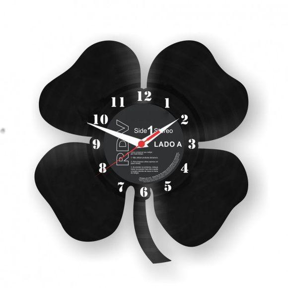 Relógio Disco de Vinil - Trevo