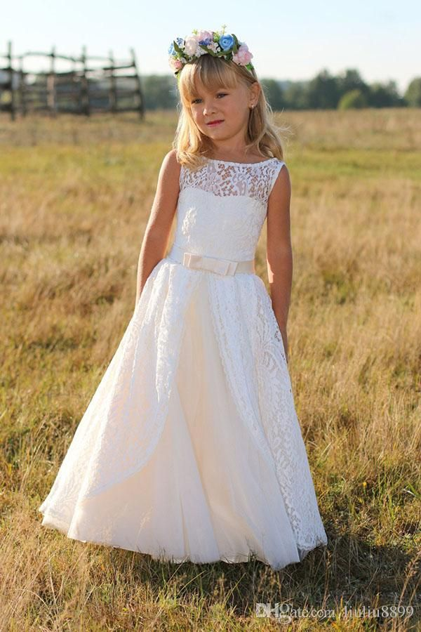 Fashion First Communion Dresses for Girls Long Communion Dresses 2016,Lace Pageant Dresses Flower Girl with Sash,Children Prom Dress