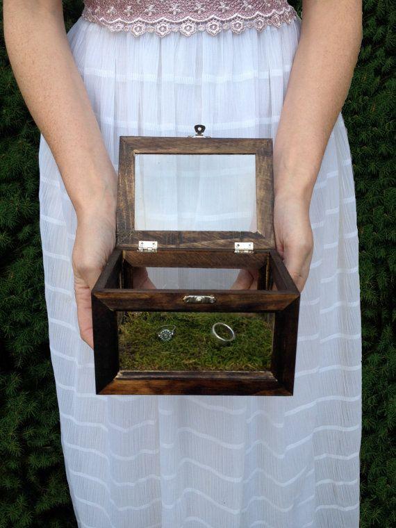 Ring bearer box - Glass and Wood terrarium style ring bearer box for rustic or woodland style wedding