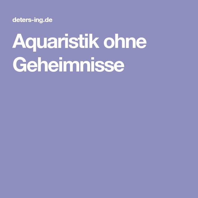 Aquaristik ohne Geheimnisse