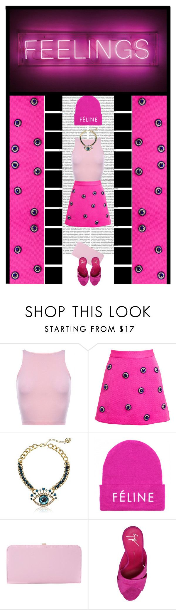 """FEELINGS -"" by irresistible-livingdeadgirl ❤ liked on Polyvore featuring House of Holland, Betsey Johnson, Brian Lichtenberg, Dune, Giuseppe Zanotti, sandals, polyvorecommunity, BetseyJohnson, statementnecklace and houseofholland"