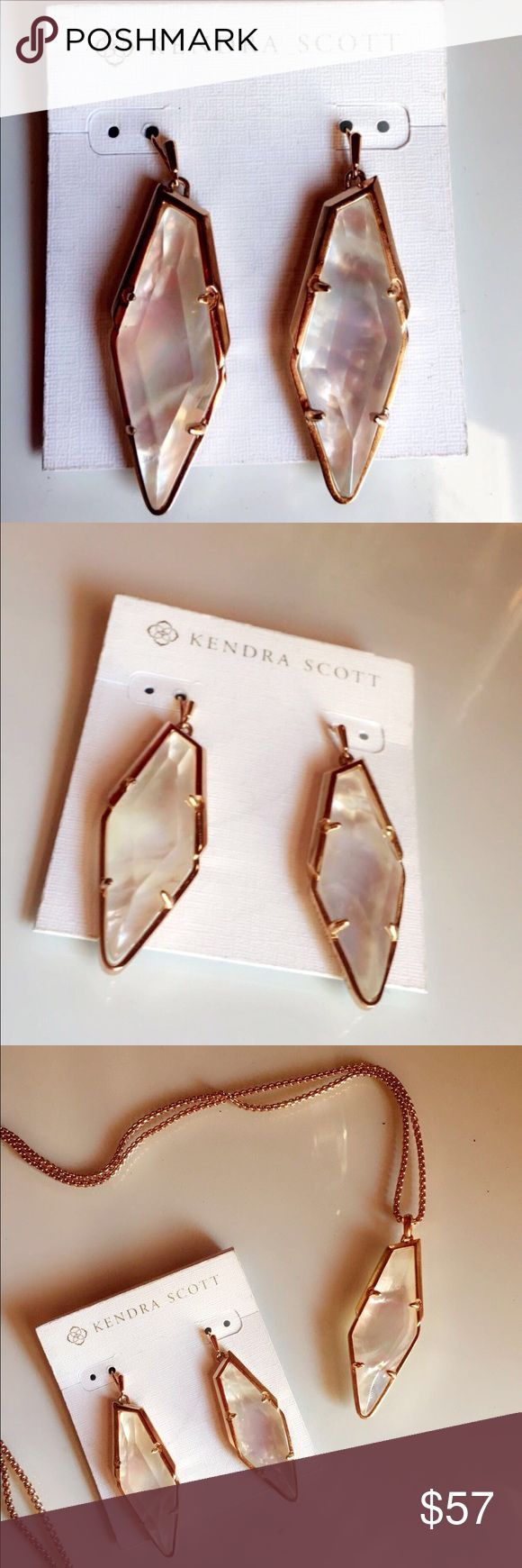 Kendra Scott earrings New Kendra Scott earrings. Rosegold and mother of pearls material. Original retail predice $78. Last picture includes matching necklace. Available for sale as a bundle and individually. (Bundle $130) Kendra Scott Jewelry Earrings