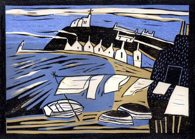 """""""Wash Day in Findochty"""" by Colin Moore (linocut)"""