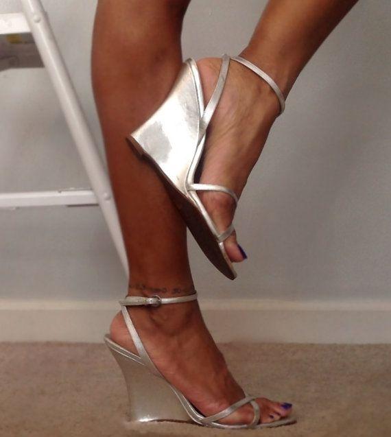Vintage Aldo Metallic Silver Wedge Heel Sandals by VintageFlyGal