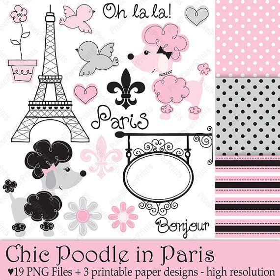 Poodle en Paris  Set de Clip Art y Papeles por pixelpaperprints, $5.00