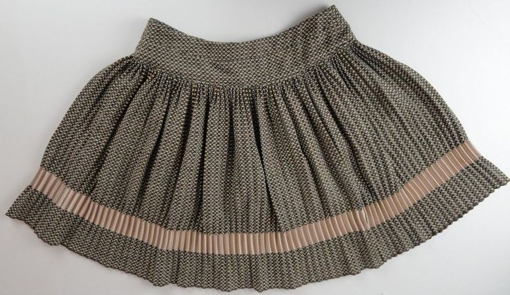 Dolce & Gabana 32/46 Skirt Brown Wool Blend Geometric Pleated Button Close D&G  #DGByDolceGabbana #Pleated