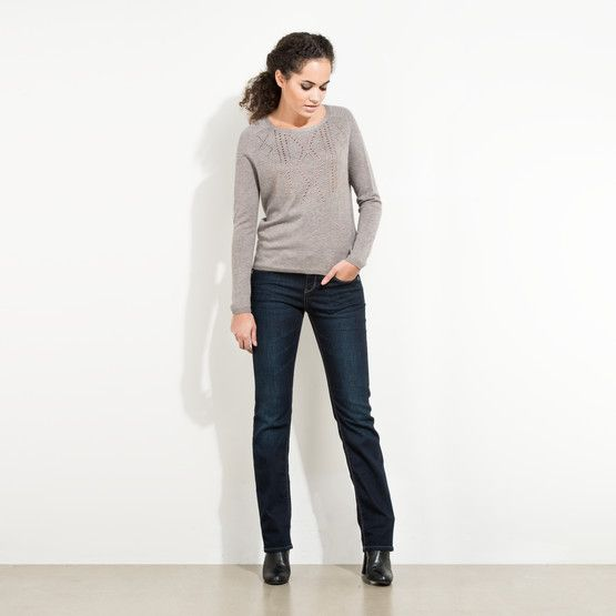 This wide neck sweater is a slouchy style that can work with any kind of denim combination.