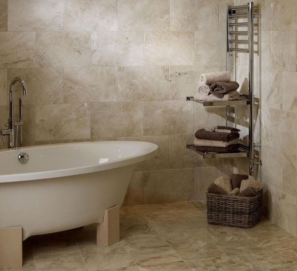Natural Stone Flooring Design Ideas For Small Bathroom