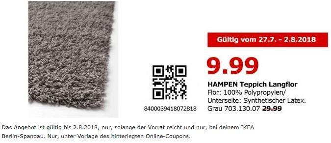 IKEA Berlin-Spandau HAMPEN Teppich Langflor, 133x195 cm
